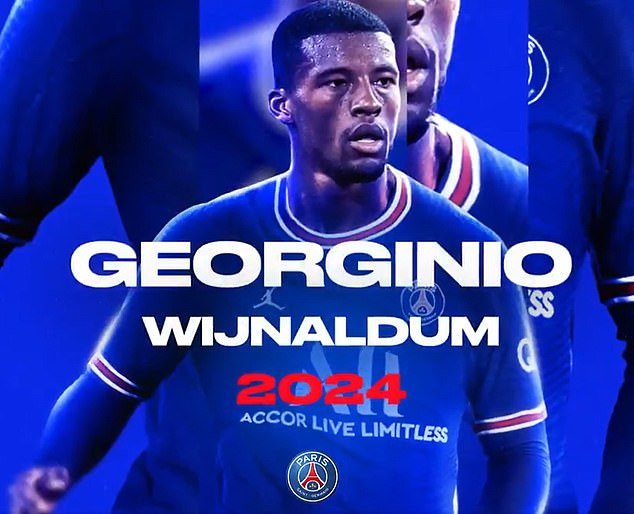 PSG confirmed Wijnaldum would join the club following his departure from Liverpool last season