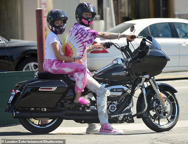 Bikers: Machine Gun Kelly and his daughter Casie Colson Baker were spotted out on a motorcycle ride in Studio City