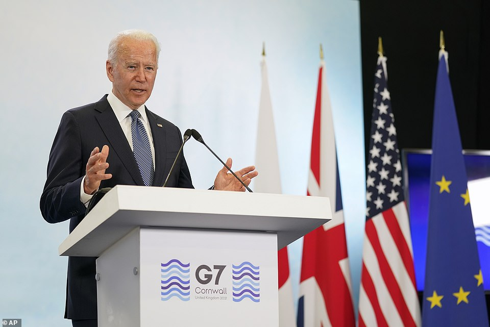 'I don't want to get into being diverted by did they shake hands who talked the most and the rest,' he told reporters, President Joe Biden said when asked why he doesn't want a side-by-side press conference with Russia's Vladimir Putin next week