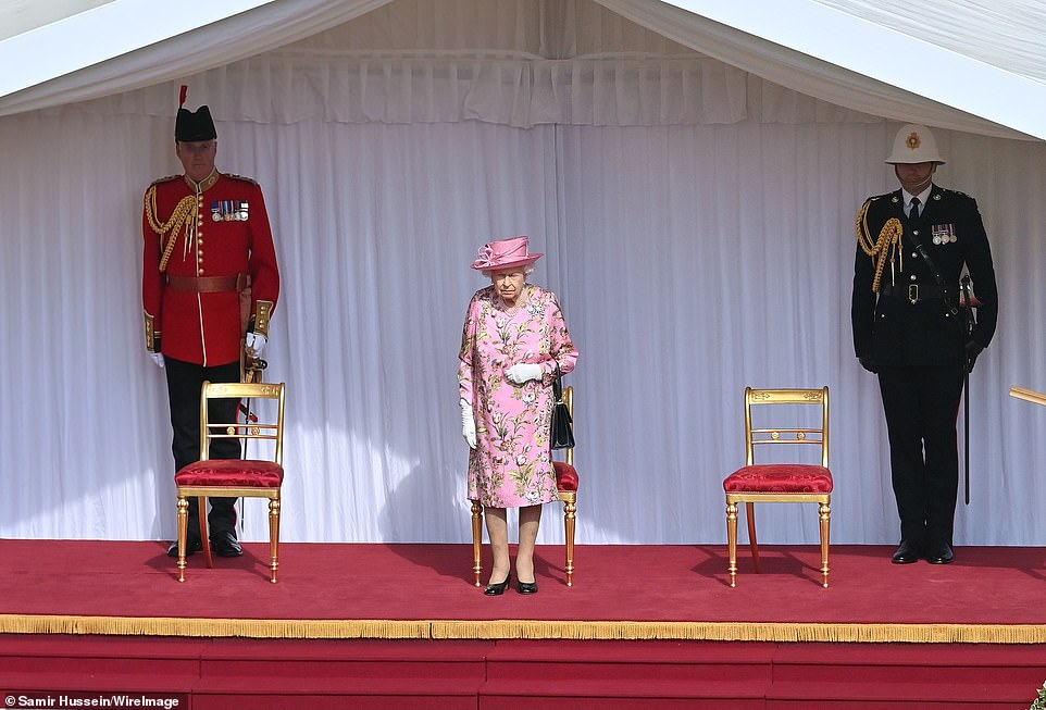 Queen Elizabeth II at Windsor Castle on June 13, 2021 in Windsor, England. Queen Elizabeth II hosts US President, Joe Biden and First Lady Dr Jill Biden at Windsor Castle