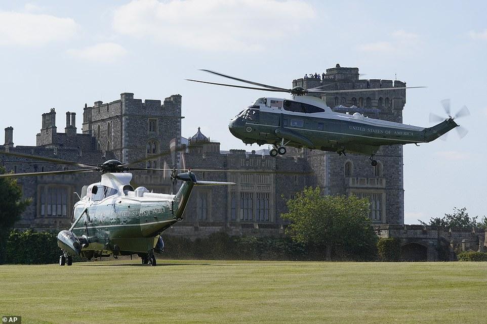 Marine One, with President Joe Biden and first lady Jill Biden aboard, lands at Windsor Castle in Windsor, England, Sunday, June 13