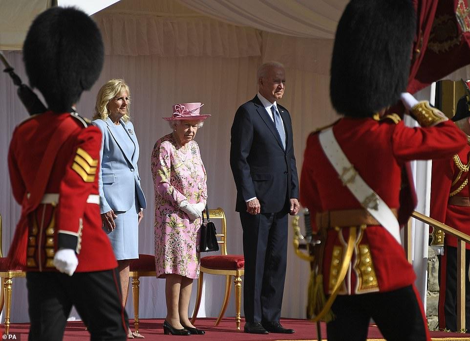 Queen Elizabeth II with US President Joe Biden and First Lady Jill Biden during their visit to Windsor Castle in Berkshire