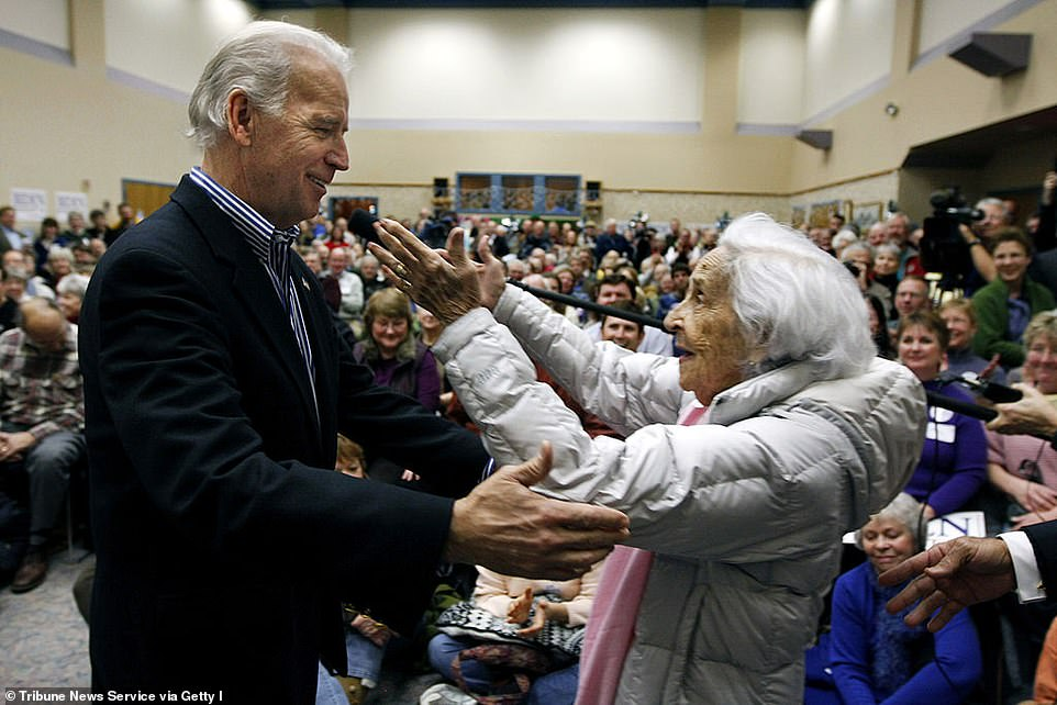 Joe Biden is pictured with his mother Jean on the campaign trail in 2007. Jean died in 2010
