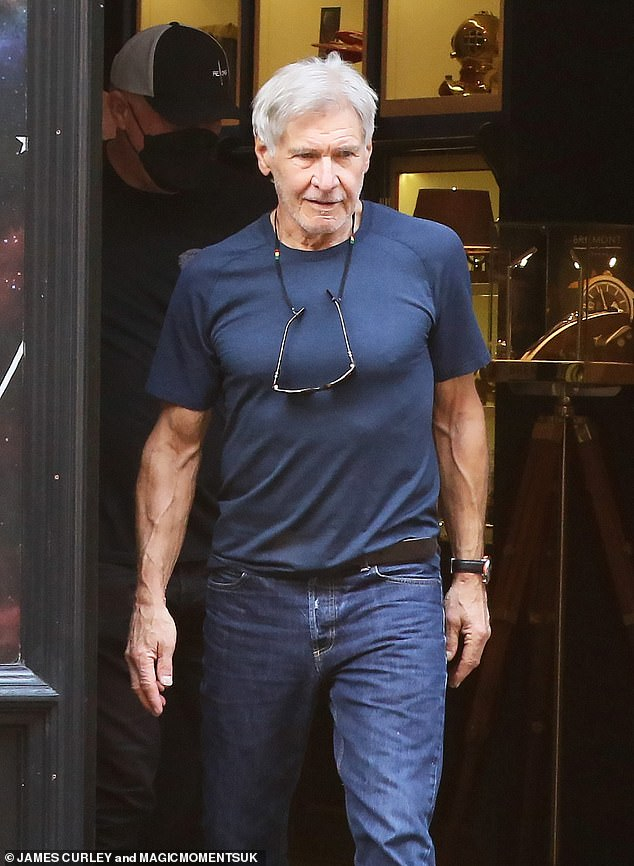 Flashy: Harrison Ford, 78, was spotted taking a break from set purchasing a £4,500 watch in a luxury Mayfair store on Saturday