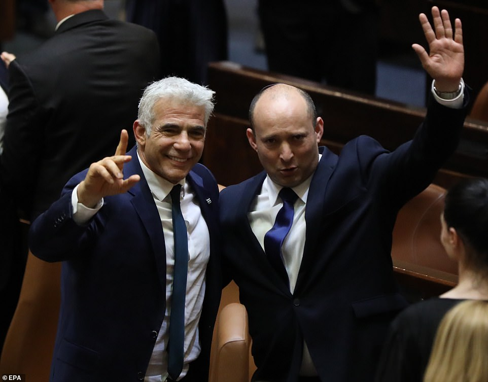 Bennett (right) will be prime minister until September 2023 before handing the power over to Yair Lapid (left), the leader of centrist Yesh Atid party, for a further two years as part of a power-sharing deal