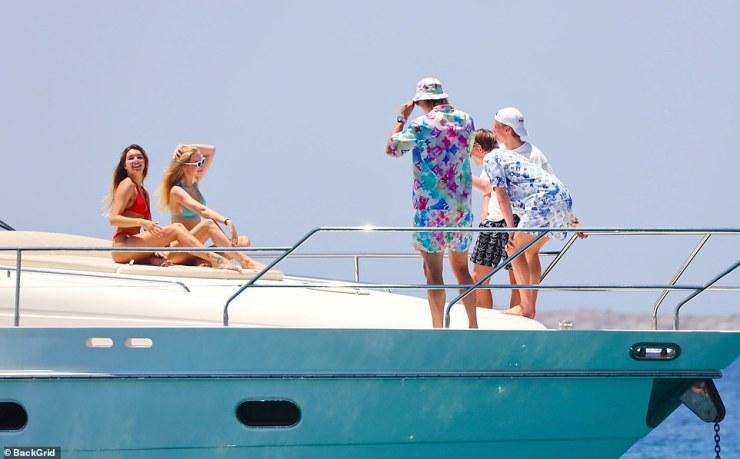 Haaland was seen partying with a number of bikini-clad women as he enjoyed his time out at sea with friends