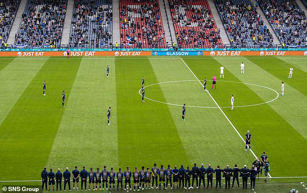 Scotland's players stand with their hands behind their backs before kick-off at Hampden Park