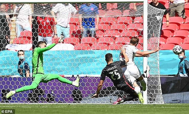He missed a chance at the back post to double the lead following Raheem Sterling's opener