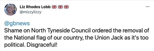 Constituent Liz Rhodes Lobb wrote: 'Shame on North Tyneside Council ordered the removal of the National flag of our country'