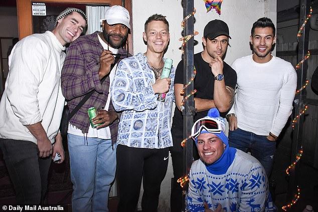 Friends: Adam Todd, Trent Crey, Shannon Karaka, Rudy El Kholti and Jackson Garlick were also in attendance.  Pictured alongside Survivor star Daini Tuiqere