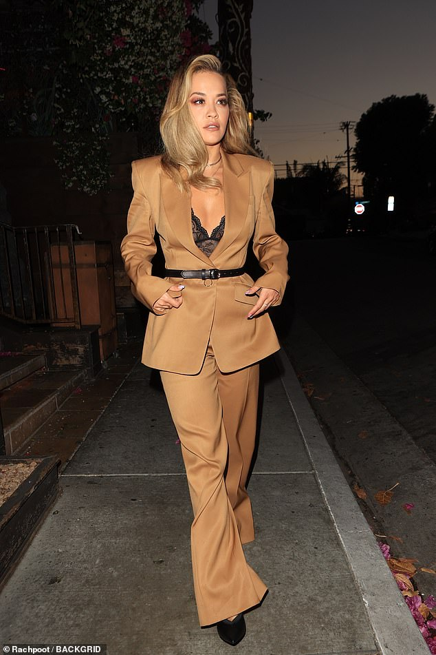 Wow:Rita Ora cut a typically stylish figure as she enjoyed an evening out at Craig's in West Hollywood on Monday