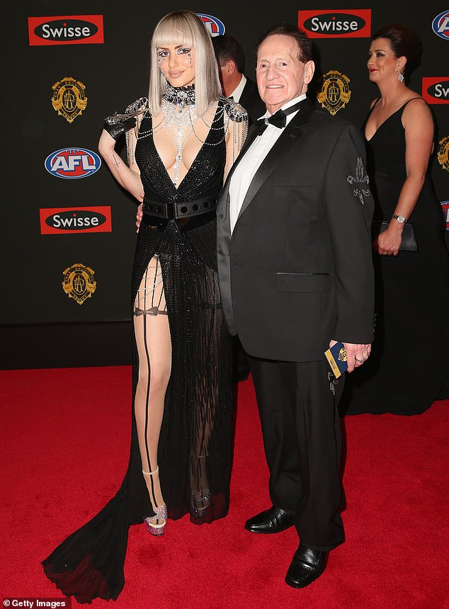 On and off: They reunited in January 2018 and were planning on renewing their vows before calling it quits again at the end of that year. Pictured together at theBrownlow Medal in Melbourne in September 2014