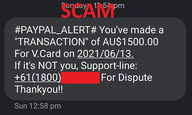 The bogus scam (pictured) that many PayPal users in Australia received on Sunday afternoon