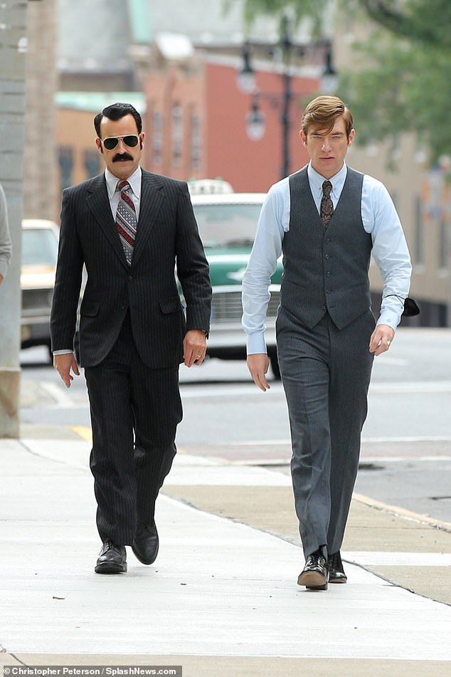 Watergate:A mustached Justin Theroux, 49, was spotted on the set of The White House Plumbers alongside co-star Domhnall Gleeson, 38, while shooting in Albany on Tuesday