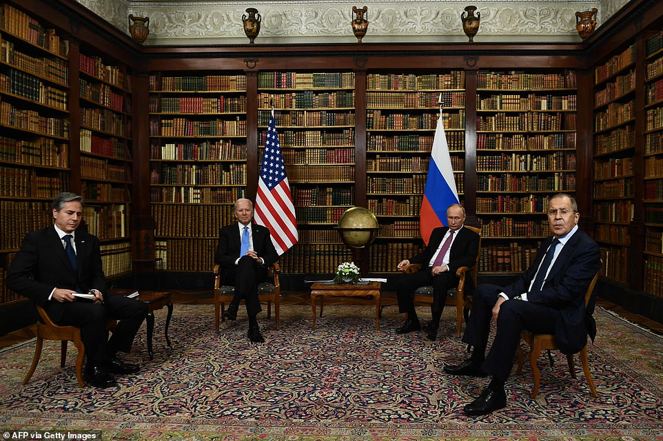 Secretary of State Anthony Blinken was seated to Biden's right, taking notes. To Biden's left was Russian Foreign Minister Sergei Lavrov, seated with his hands between his legs.