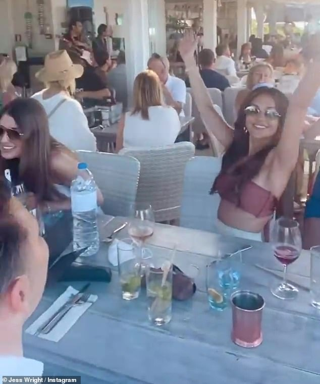 Funny moments: Taking to her Instagram story, Jess, 35, shared several travel updates that included sizzling selfies with Michelle dancing and laughing
