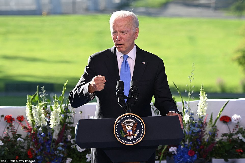 The White House arranged for Biden to speak from the grounds of a villa overlooking Lake Geneva