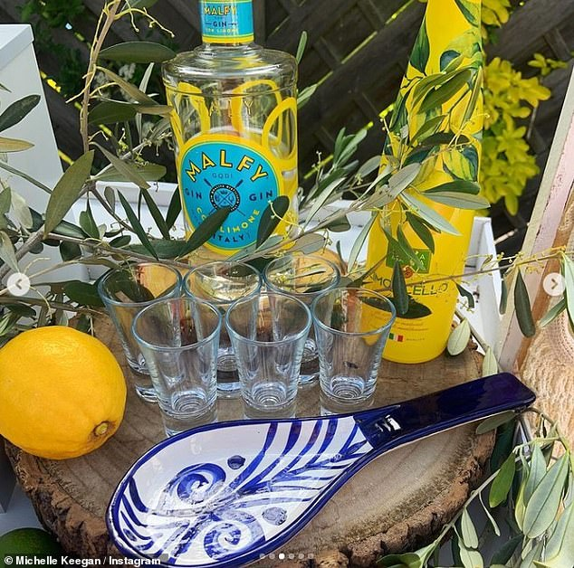 Take a sip: The launch event, held in Michelle's garden, featured a limoncello and gin cart, decorated with citrus fruits and lemonade jugs