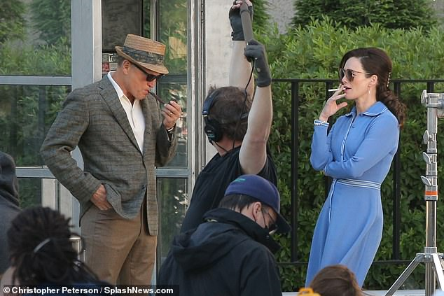 Smoke scenes: The couple were seen filming smoking a pipe and a cigarette respectively