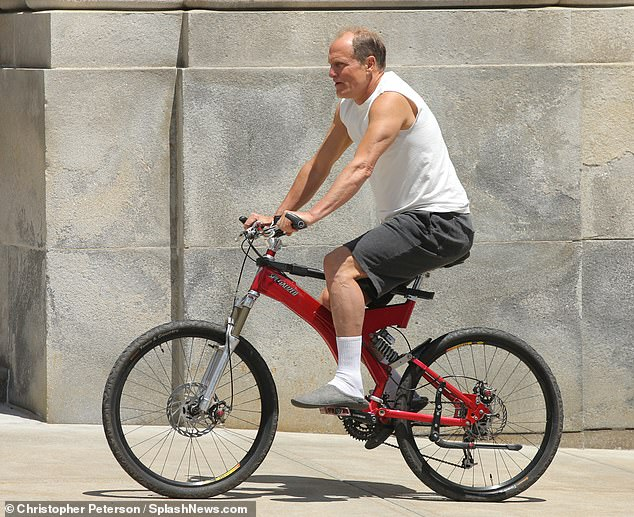 Roll to define!  The actor was seen riding a red bicycle while wearing slippers and a tank top