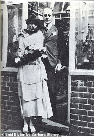 Enid Blyton was first married to Major Hugh Pollock, pictured on their wedding day in 1924. They divorced during the Second World War