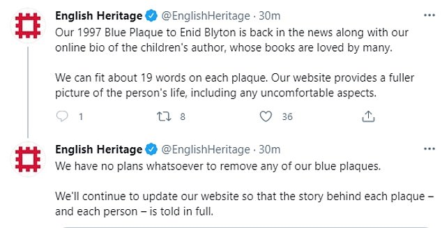 English Heritage doubled down today and tweeted: 'We'll continue to update our website so that the story behind each plaque – and each person – is told in full'