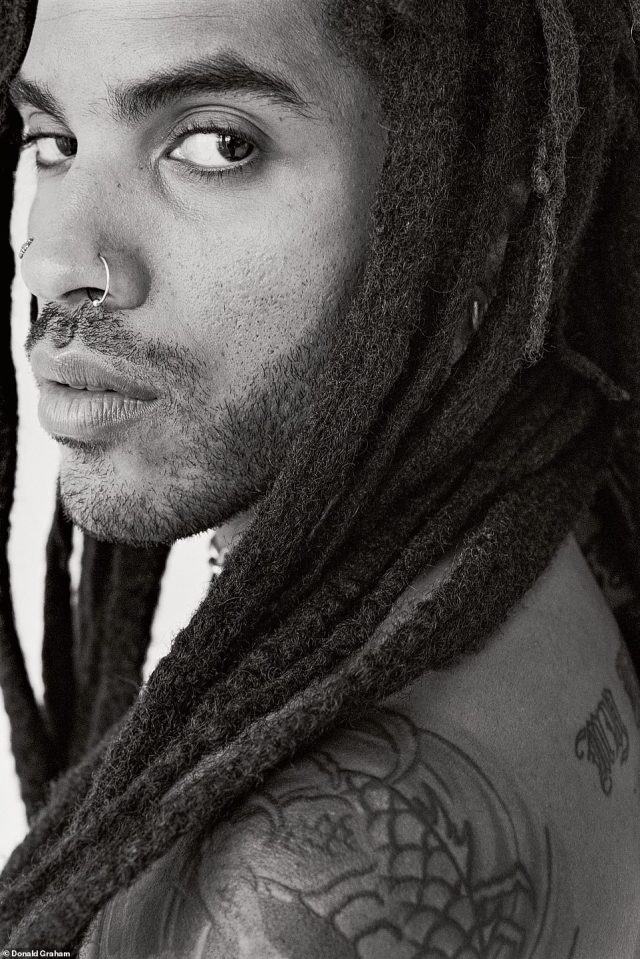 While there are those in the public eye who shy away from the camera or have publicists who offer small windows of time to photograph, Lenny Kravitz is not one of them, Graham said. 'Lenny is an absolute joy to work with,' he told DailyMail.com. The Grammy Award-winning guitarist had a string of hits in the 1990s including Are You Gonna Go My Way and Fly Away. The photographer spent over three hours shooting the rocker, who Graham called'open and honest' and said had 'tremendous magnetism.' After the shoot, they went to Kravitz's studio. Above, Lenny Kravitz, New York City, New York, an image that was published in 1998for a magazine called Creme & Sugar