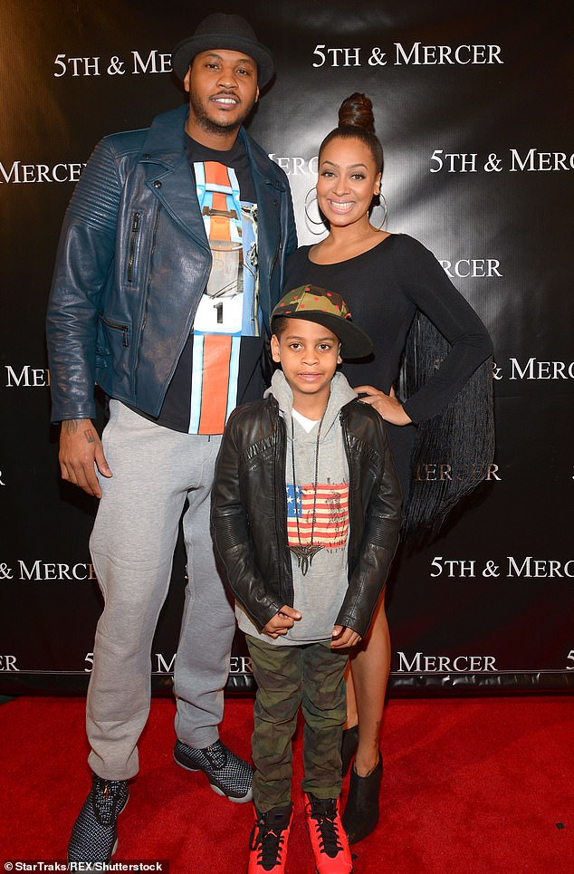 Amicable: The couple share a 14-year-old son named Kiyan, whom they make a priority as they work to make a smooth transition between separated spouses and co-parents (Pic, 2014)