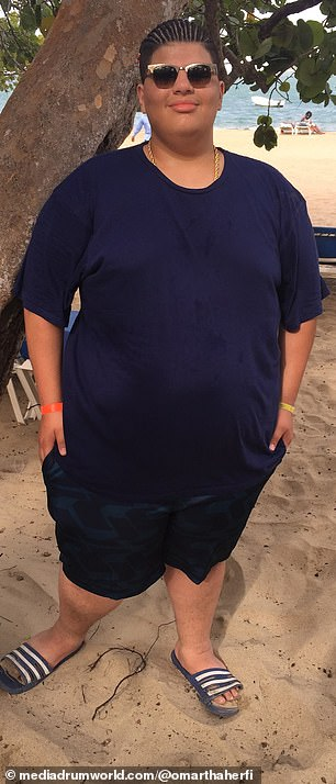 Before and after: Omar, who now weighs 269 pounds, shared that he has since lost his virginity