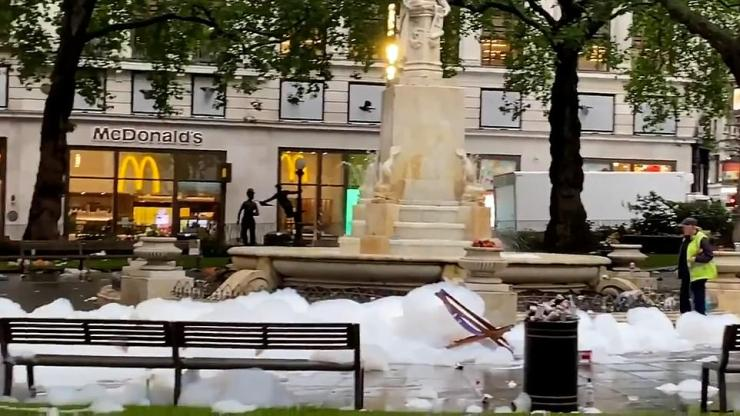 The scene in a trashed Leicester Square this morning after the Tartan Army partied and filled the fountains with foam