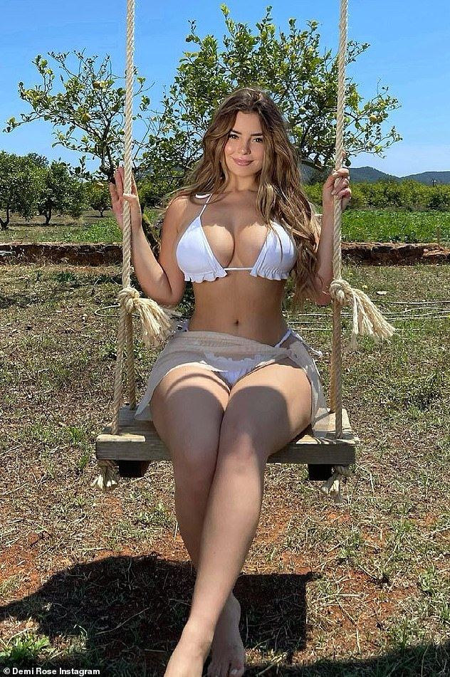 Holidaying: It comes after she set pulses racing once again in a sizzling series of Instagram pictures wearing a skimpy white bikini, last week