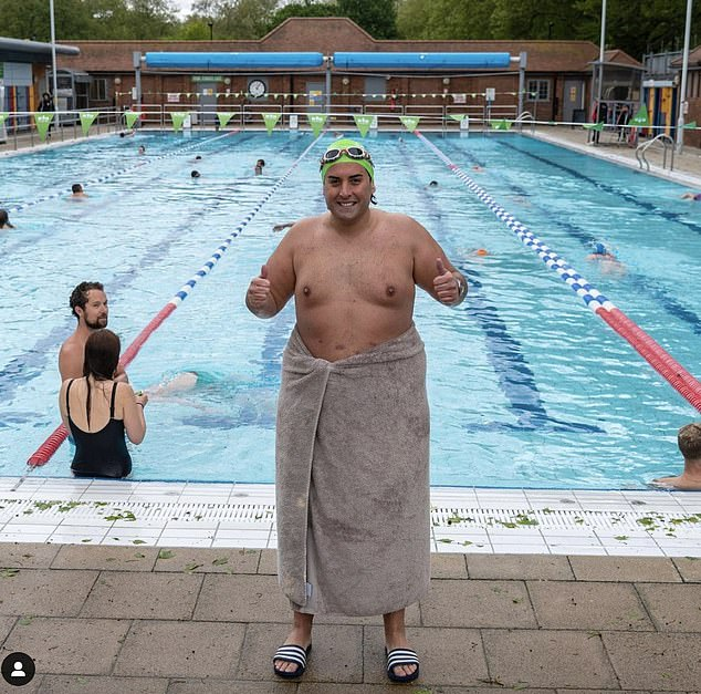 Good for you: Earlier this year, Arg took to Instagram to share a snap of himself wrapped in a towel while at a lido as he explained to fans how he's taking care of himself after surgery