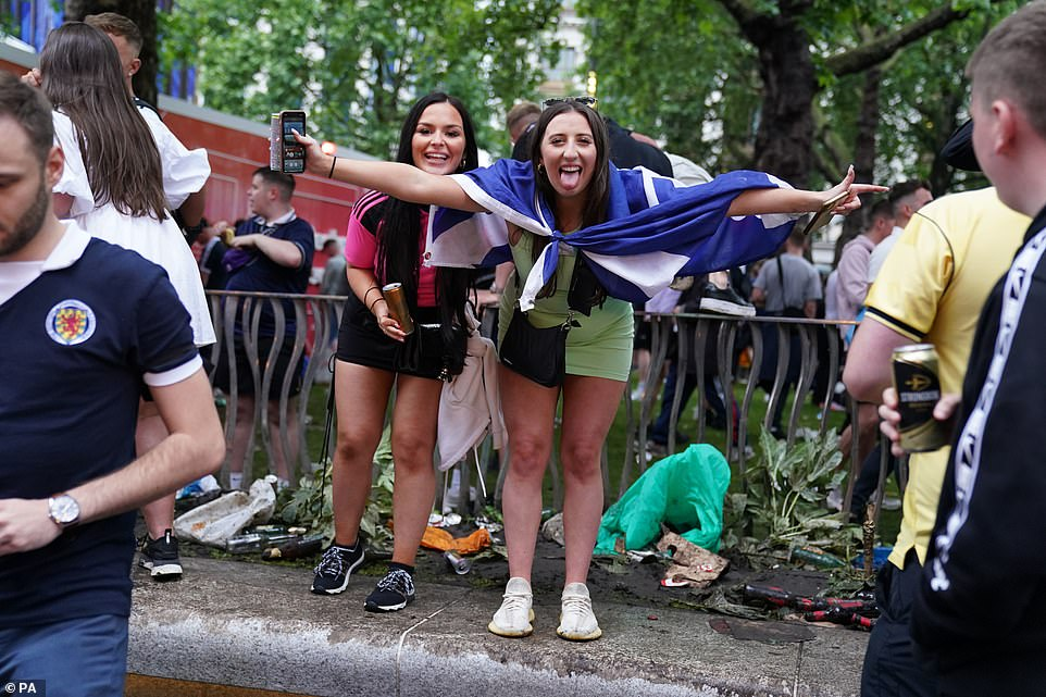Police watched on the proceedings throughout the day but rarely intervened as fans enjoyed the party atmosphere for the highly-anticipated game