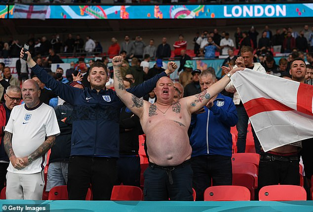 Fans of England show their support prior to the UEFA Euro 2020 Championship Group D match between England and Scotland at Wembley Stadium
