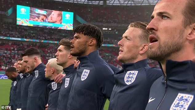 Fans booed as both teams sang their national anthems ahead of the Euro 2020 match