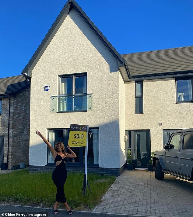 New start: Chloe Ferry took to Instagram to reveal the property had been sold on Friday as she celebrated in a black body con dress next to her former home, where a yellow 'sold' sign had been stuck in the front garden.