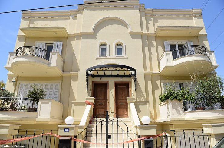 Police described the crime as the 'most heinous' they have ever investigated, and say it was carried out with a 'brutality' that is rare in Greece. Pictured: the house where the murder took place