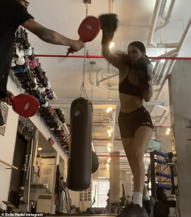 The catwalk queen also gave her 43.4 million Instagram fans and followers a glimpse of her workout by posting three short videos