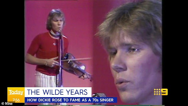 Younger years: Richard rose to fame with a music career in his home country of New Zealand in the 1970s with his band Wilde and Reckless. Among the clips shown was of him in his younger years playing the violin and singing, dressed in a fitted red shirt and white trousers with stripes