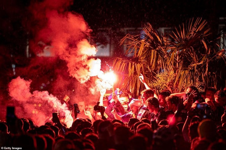 Scotland fans let off flares in Leicester Square after the England v Scotland game ended in a 0-0 draw on Friday at Wembley Stadium
