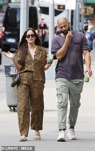 City jaunt: The pair were seen stopping at trendy cafe Cha Cha Matcha before doing a little window shopping