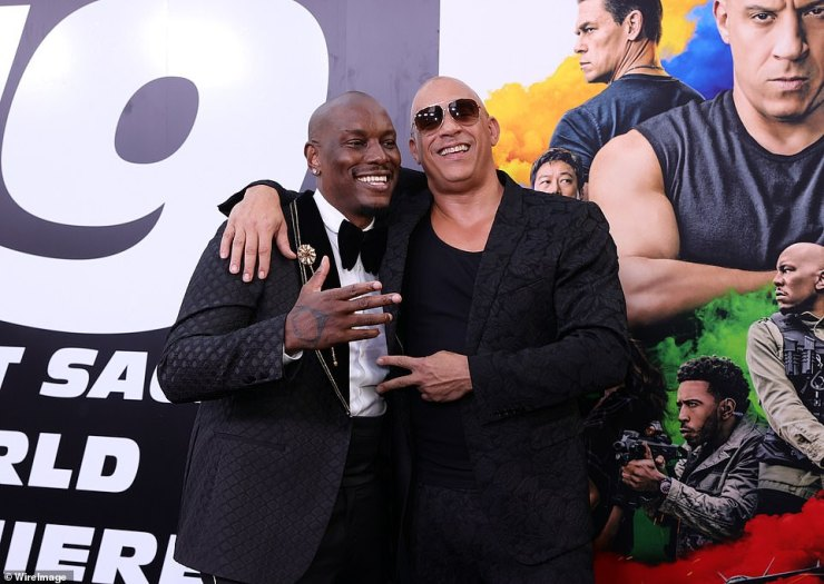 Leading men: The power duo of Tyrese Gibson and Vin Diesel were naturally there to see their long awaited movie on the big screen