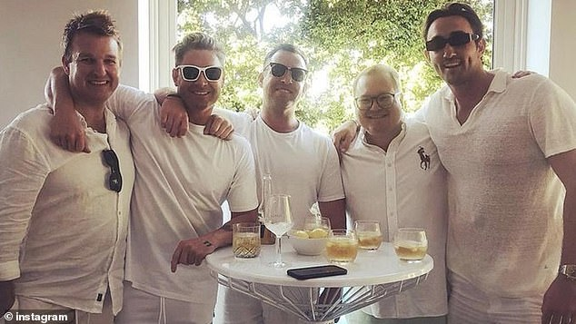 Party!Lauren also came along when retired Australian cricket captain hosted a lavish party in Sydney on Saturday to celebrate his 40th birthday in April (pictured)