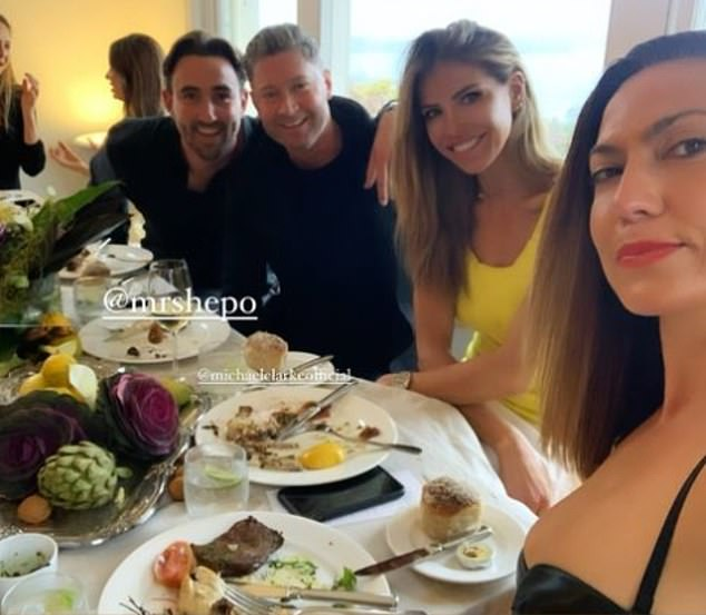 Party time:Michael Clarke (second from left) was enjoying birthday celebrations with friends on Saturday.The 40-year-old was joined by friend Laura Csortan (second from right) as they had a birthday lunch for their pal Max Shepherd