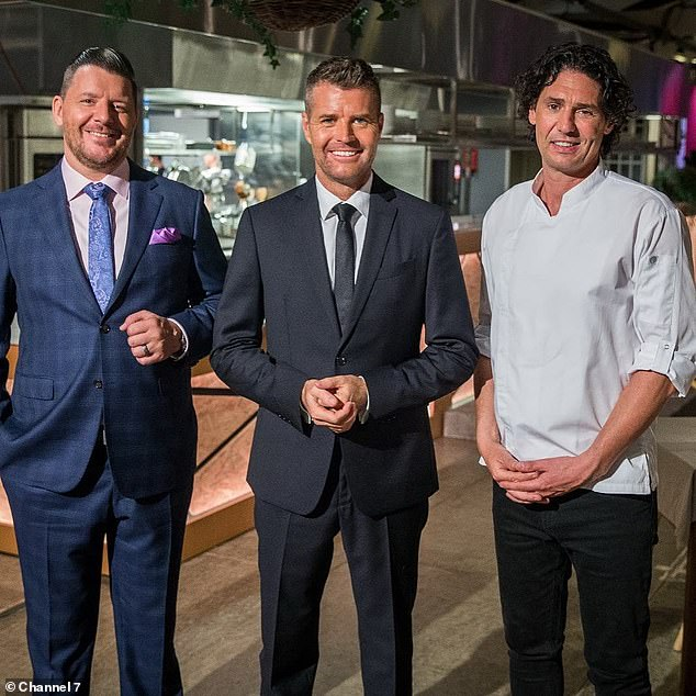 Big comeback: On Sunday, the 47-year-old spoke candidly about the Seven show - which was cut last year due to poor ratings - which he previously directed alongside Colin Fassnidge (right) and by controversial chef Pete Evans (center)
