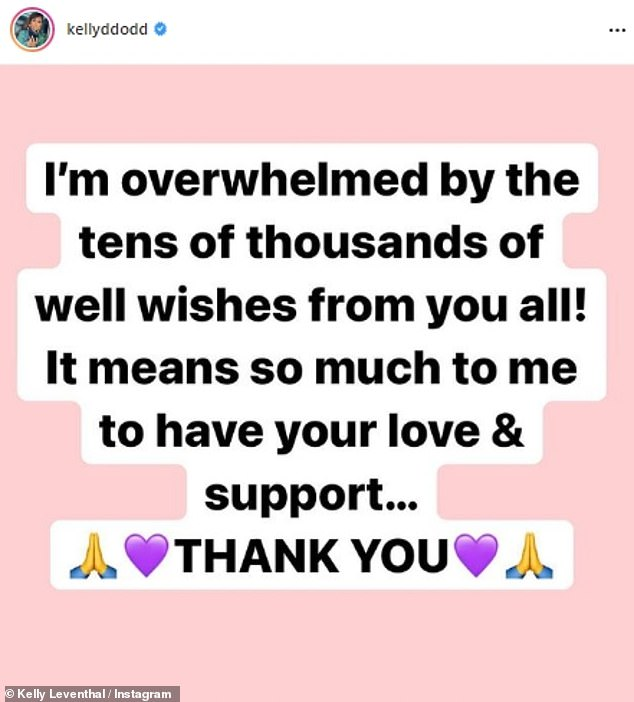 Kelly tried to keep it a bit lighter on Saturday, however: she shared a new text image on her Instagram feed which thanked her