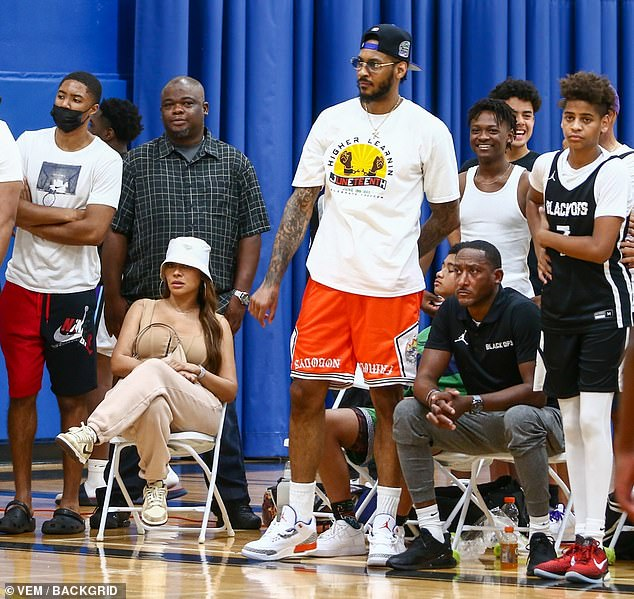 Co-parenting: La La Anthony, 41, and her future ex-husband Carmelo Anthony, 37, proved they are ex-friends by supporting their son Kiyan, 14, during his basketball game in Miami on Saturday
