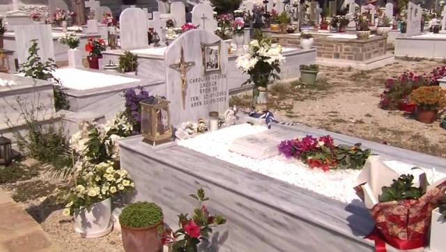 Anagnostopoulos, 33, admitted killing 20-year-old Caroline in a fit of rage and staged a fake robbery after she threatened to divorce him and take their baby daughter Lydia. Pictured: Caroline's grave in Athens