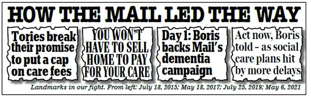 The Mail has been waging a long-running campaign to end the care crisis. And the Health Secretary is also eager for a solution to be agreed at tomorrow's meeting, believing the situation has been left to fester for too long