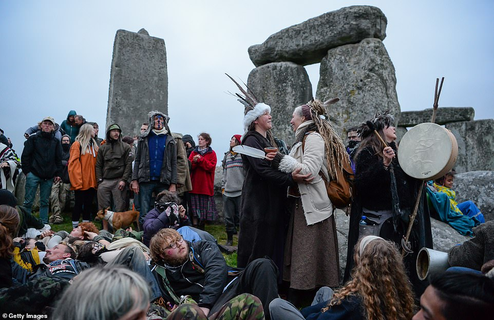 A large number of people enter the closed site at Stonehenge on June 21, 2021, in Amesbury